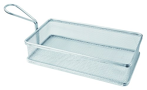 (Rectangular Stainless Steel Fry Serving Basket (Case of 6), PacknWood - Metal Wire Display Basket Stand (8.7 x 4.7 x 2