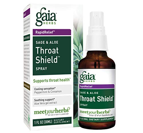 Gaia Herbs Sage & Aloe Throat Shield Spray, 1 Ounce - Soothing, Hydrating Support for Throat Health and Immune Support