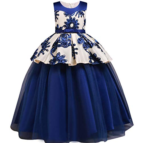 Baby Girls Baptism Princess Flower Ball Gown Dress Kids Bridesmaid Dresses for Girls Wedding Party Dress First Communion Dress,Blue,6 for $<!--$32.12-->