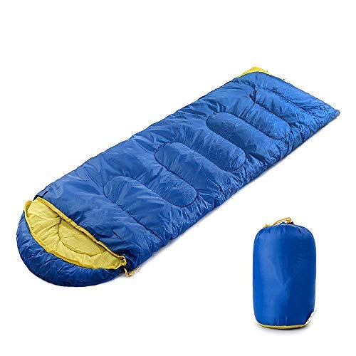 Comfortable 4-Season Envelope Sleeping Bag with Pillow for Camping Hiking Outdoors Navy blue VGEBY Portable Double Sleeping Bag