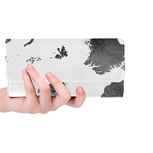 Sox Black Tri Fold Wallet - Unique Custom Black And White Vintage Map Of The World Women Trifold Wallet Long Purse Credit Card Holder Case Handbag