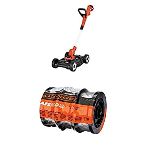 "BLACK+DECKER MTE912 6.5-Amp Electric 3-in-1 Trimmer/Edger and Mower, 12"" WITH BLACK+DECKER AF-100-3ZP 30ft 0.065"" Line String Trimmer Replacement Spool, 3-Pack"