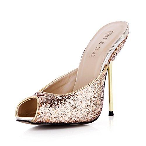 Donna scarpe Tacco partito peep moda Da Alto Toe A sandali Metallo tacco Chau Spillo Oro Chmile sexy d 5wtnq6CXFB