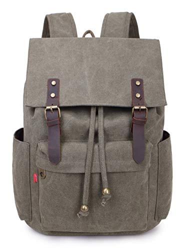 Crest Design Vintage Canvas 16 inch Laptop Backpack School Bag Hiking Travel Rucksack 25L (Army Green) (Eurosport Canvas Backpack)