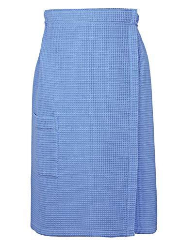 (Indulge Linen Women Spa/Bath Adjustable Closure Waffle Body Wrap with a Pocket (Light Blue, Large/X-Large))