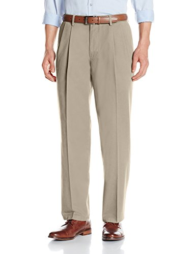 Amazon Essentials Men's Classic-Fit Wrinkle-Resistant Pleated Chino Pant, Khaki, 33W x (Back Zip Pant)