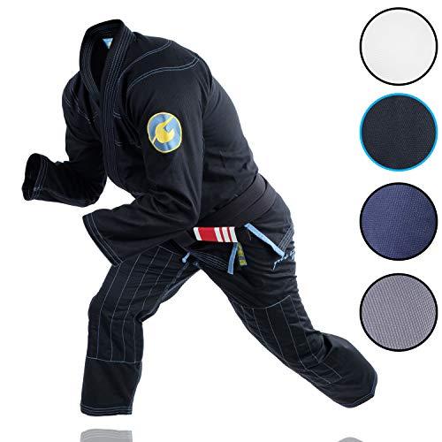 Gold BJJ Jiu Jitsu Gi - Ultra Lightweight Mens Aeroweave - Preshrunk Brazilian Jiu Jitsu Uniform for Men