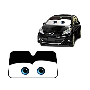 Eyes Heated Windshield Sunshade Car Window Windscreen Cover Sun Shade Auto Sun Visor Car-covers UV Protection (Black) (Black)