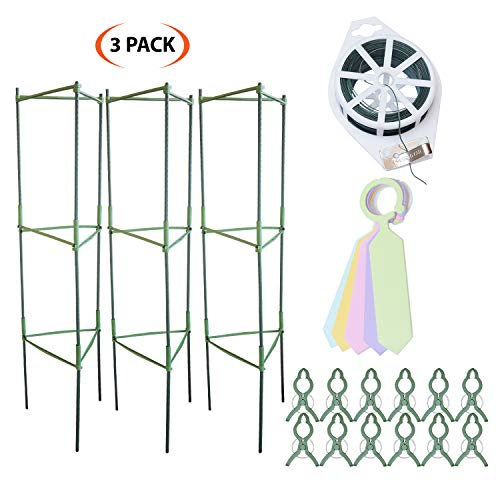 Grow Your Pantry Tomato Cages from 3 Pack of Strong and Durable Plant Cages for Growing Vegetables and Fruits! with Bonus Plant Clips + 100M Twist Tie Device!