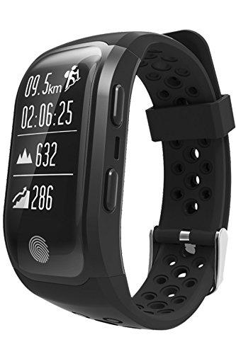 GPS Sports Watch Heart Rate Monitor Bluetooth Smart Fitness Tracker Bracelet Waterproof Black