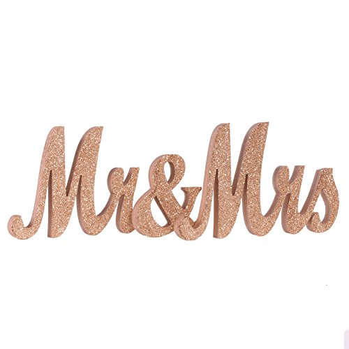 Ling's moment Medium Vintage Exquisite Rose Gold Glitter Mr & Mrs Signs Elegant Wooden Freestanding Letters For Wedding Sweetheart Table or Receptions Table Decorations NO GLITTER FALLING OFF (Gold Painting Glitter)
