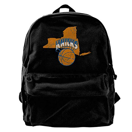 Classic Canvas Backpack New York Map Basketball Knicker Unique Print Style,Fits 14 Inch Laptop,Durable,Black