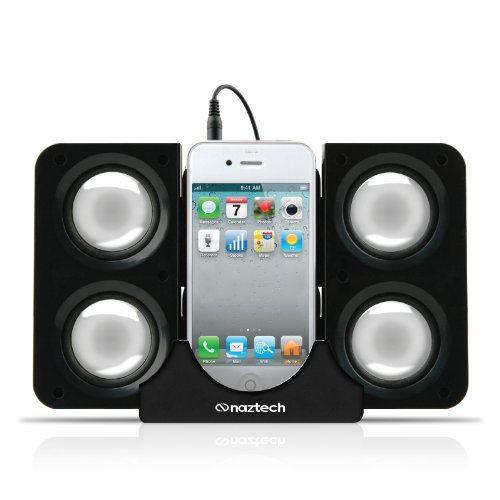 Naztech N40-11915 Portable Speaker System Dock for iPhone/BlackBerry/HTC/Samsung - Retail Packaging - Black