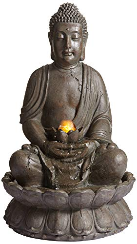 John Timberland Meditating Buddha Asian Zen Outdoor Water Fountain with Light LED 33 1/2