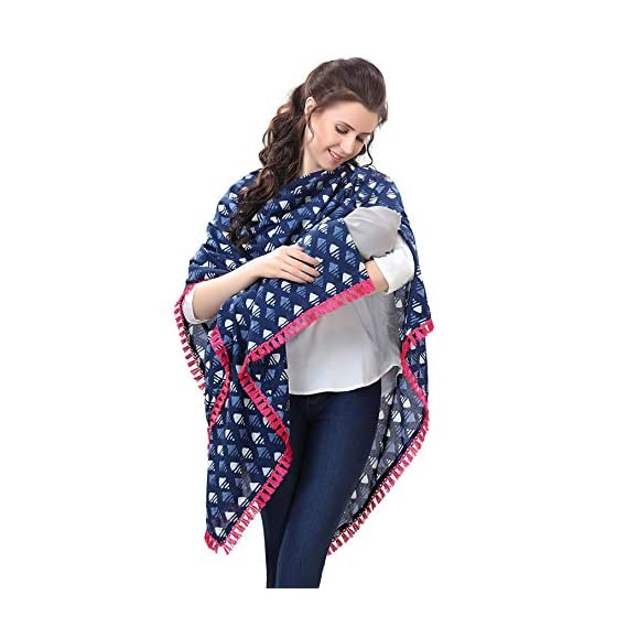 Easy Feed Nursing Cover for Breastfeeding Multi Use Poncho Style Scarf with Buttons, Cotton Feeding Elegant Apron