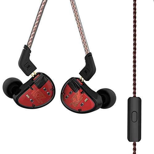 KZ AS10 Five-Driver Universal-Fit in-Ear Musicians' Monitors Stereo High Fidelity in-Ear Musicians Monitors with Removable Braided Audio Cable (Black with Mic)