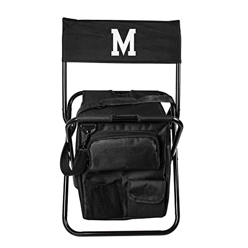 Personalized All-in-One Tailgate Cooler Chair, Monogrammed Letter M Black