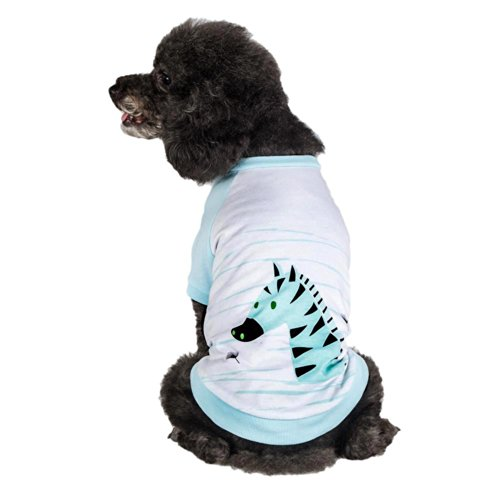 Blueberry Pet Henry the Zebra Cotton Dog Shirt in Aquamarine for Puppy, Back Length 8