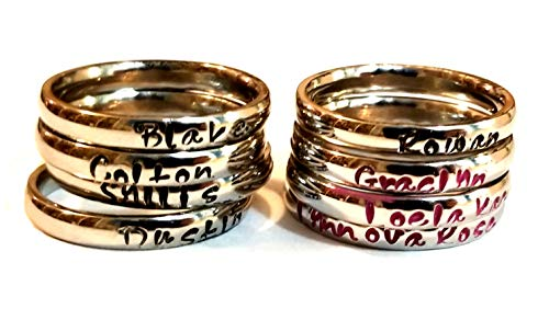 Personalized Stackable Name Ring - Stacking Rings - Custom Engraved Silver Shiny Gold Colors - 3mm Width