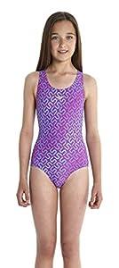 Speedo Mädchen Monogram Splashback Badeanzug mit Allover Print, diva/bali...