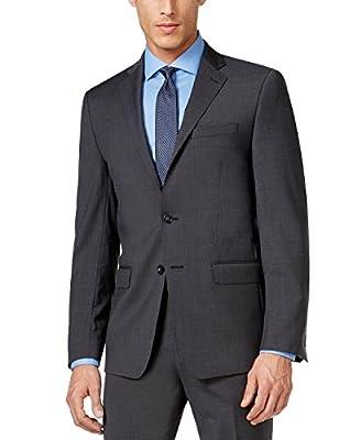 Calvin Klein X-Fit Charcoal Plaid Extra Slim-Fit 2 Button 100% Wool Men's 2 Piece Suit YO457