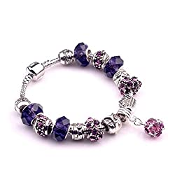 The Starry Night Geometric Round Pendant Silver Owal Pattern Vintage Crystal Accented Beads Purple Pandora Bracelet