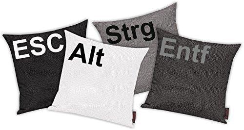 Kissenhüllen Kissenhüllen Kissenhüllen Set 4 Stück für Auserwählte  Sofakissen Motiv ESC, ALT, STRG und ENTF, Farbe grau c323e7