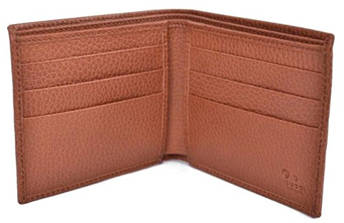 9679150f8b53 Gucci 143383 Gucci Cognac Brown Textured Leather Men's Bifold Wallet ...