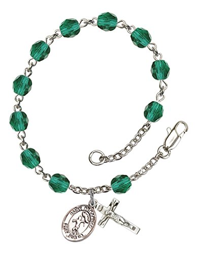 December Birthstone Rosary Bracelet (December Birth Month Bead Rosary Bracelet with Saint Sebastian Track and Field Petite Charm, 7 1/2 Inch)