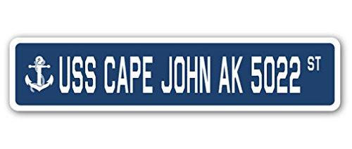- Cortan360 USS Cape John Ak 5022 Street Sign Decal Sticker US Navy Veteran Military
