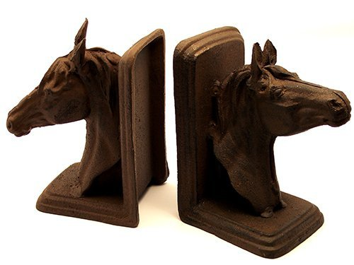 Cast Iron Horse Bookend - Cast Iron Rust Horse Head Bookends by Western Decor