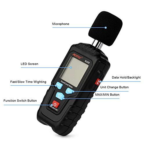Decibel Meter Digital Sound Level Meter MESTKE 30 – 130 dB Noise Volume Measuring Instrument Reader Self-Calibrated Max Min Data Hold Fast/Slow Mode LCD Backlight Display/Flashlight by MESTEK (Image #8)