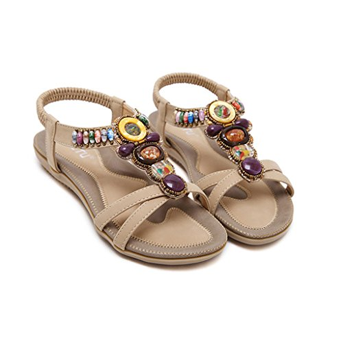 Eagsouni® Damen Sommer Bohemia Perlen Sandalen Zehentrenner Knöchelriemen Peep-Toe Flache Schuhe Beige