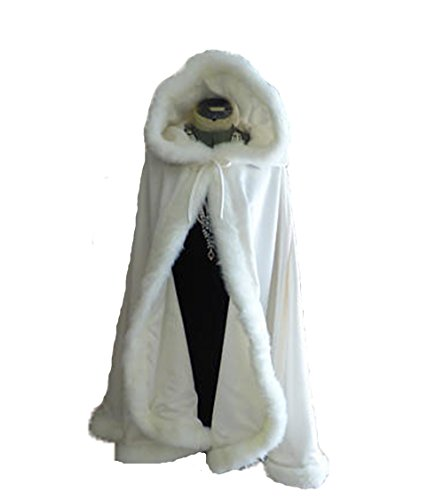 AngelaLove Women's Winter Wraps Cape Shawl Bridal Hooded Cape Short Faux Fur Coat For Wedding AL122 by AngelaLove