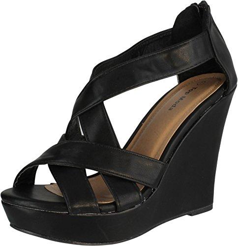 Stella Wedge Sandal - Top Moda Ella-18 Women's Gladiator Wedge Heel Sandals,Black,7.5
