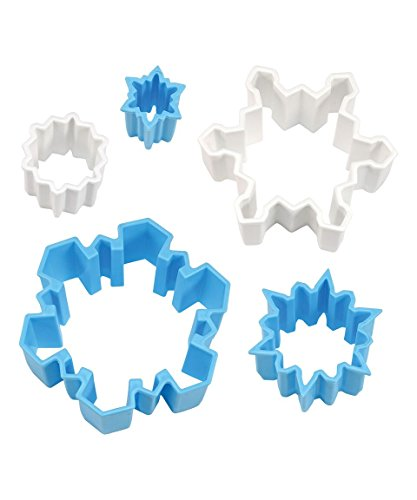 R&M International 1766 Snowflake Cookie and Biscuit Cutters, Assorted Sizes, Bright Colors, 5-Piece Set