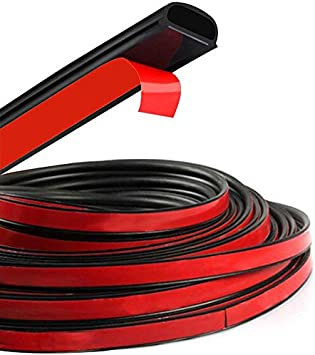 Universal Car Automotive Door Seal Strip D-Shape Hollow Edge Guard Weatherstrip Self-Adhesive Weather Stripping for Car Truck Door Window Soundproof Noise Insulation Sealing 16x16mm 5 meters//16.4ft