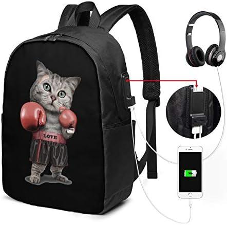 ビジネスリュック ボクシングの猫 メンズバックパック 手提げ リュック バックパックリュック 通勤 出張 大容量 イヤホンポート USB充電ポート付き 防水 PC収納 通勤 出張 旅行 通学 男女兼用