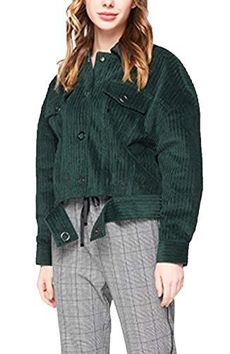 Corto De Vintage Otoño Chaqueta Moda Solapa Outerwear Manga Un Unicolor Casuales Invierno Solo Mujeres Corduroy Verde Mujer Chaquetas Elegantes Pecho Casual Larga Abrigos 7fqX5a