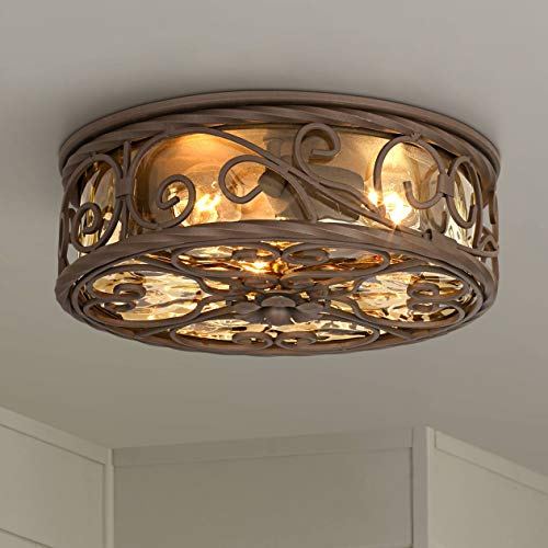 (Casa Seville Rustic Outdoor Ceiling Light Fixture Dark Walnut Iron Scroll 12