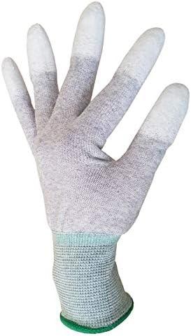 労働保護作業用手袋 コーティングニットで覆われた作業用手袋ほこりの出ないPU保護手袋、10ペア (Color : White, Size : L)