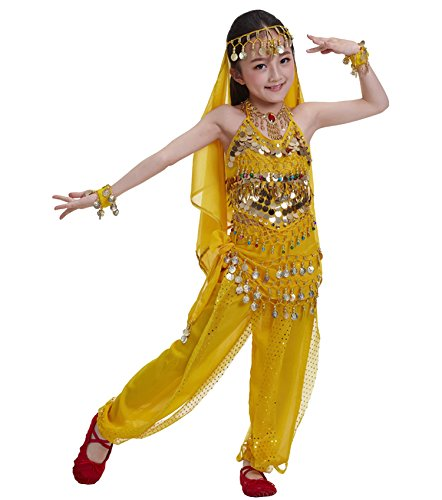 20577994b611b Astage Kids Princess Girl Indian Belly Dance Costume Cosplay Bollywood  Ornaments Yellow L