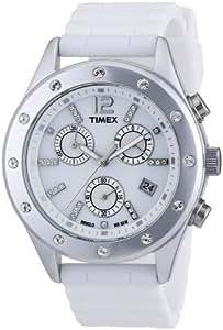 Timex T2N830 - Reloj cronógrafo de cuarzo para mujer con correa de silicona, color blanco