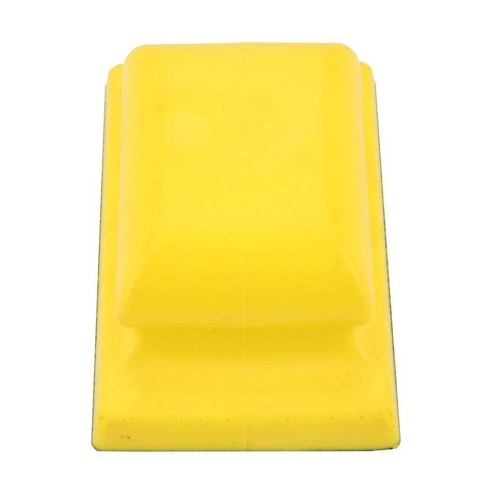 Yellow Hand Dust Extraction Sanding Grinding Sponge Block Flocking Sandpaper Foam Pad Block Polishing Disc Dust Free 11568