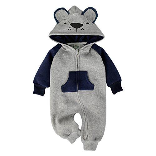 Bebone Hooded Fleece Romper For Baby Girls Boys Cartoon Animal Fox Jumpsuit(Navy,9-12m (Piece One Winter)