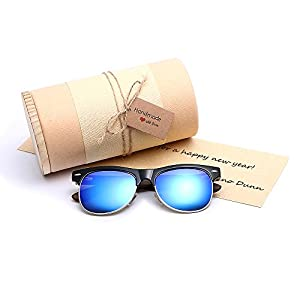 Gift For Men Women Unisex Clubmaster Stylish Real Wood frame Retro Wayfarer Polarized Sunglasses Blue Mirrored Lens Luxury Brand Designer Ladies Bamboo Sun Glasses With DIY BOX