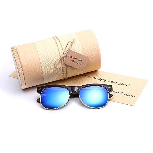 Gift For Men Women Unisex Clubmaster Stylish Real Wood frame Retro Wayfarer Polarized Sunglasses Blue Mirrored Lens Luxury Brand Designer Ladies Bamboo Sun Glasses With DIY - Between Lenses Difference Polarized