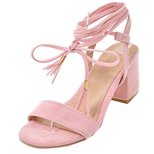 AIYOUMEI Damen Wildleder Chunky Heel Sandalen mit Schnürung und 6cm Absatz Bequem Sommer Schuhe Rosa