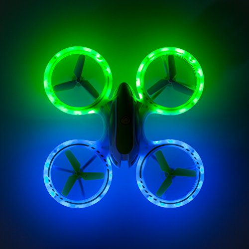 "Force1 Bright LED Quadcopter Drone – ""UFO 3000"" Easy Fly RC Drone for Kids with Glowing LED Drone Quadcopter Lights + Mini Drone Bonus Battery"