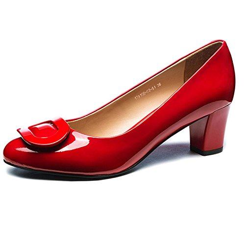 Beschuht Schwarze der High Lederner Runde Dame Klassischer Frauen Hauptleder Partei MHSXN Schuhe Rote Formaler Schuh Heels Schuhe FAn4qxT